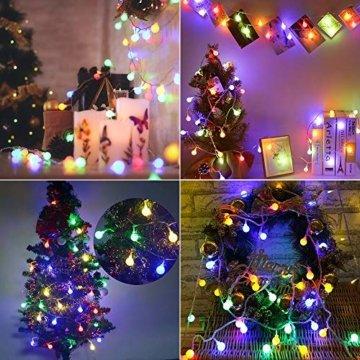 BrizLabs 50er LED Kugel Lichterkette Bunt 5M Batterie Partybeleuchtung Globe Außen, 8 Modi und Timer Funktion, Innen Weihnachtsbeleuchtung Stimmungslichter für Zimmer Hochzeit Party Deko, Mehrfarbig - 5