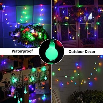 BrizLabs 50er LED Kugel Lichterkette Bunt 5M Batterie Partybeleuchtung Globe Außen, 8 Modi und Timer Funktion, Innen Weihnachtsbeleuchtung Stimmungslichter für Zimmer Hochzeit Party Deko, Mehrfarbig - 6