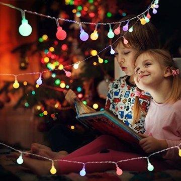 BrizLabs 50er LED Kugel Lichterkette Bunt 5M Batterie Partybeleuchtung Globe Außen, 8 Modi und Timer Funktion, Innen Weihnachtsbeleuchtung Stimmungslichter für Zimmer Hochzeit Party Deko, Mehrfarbig - 7