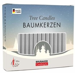 Brubaker 20er Pack Baumkerzen Wachs Weihnachtskerzen Pyramidenkerzen Christbaumkerzen Silber - 1