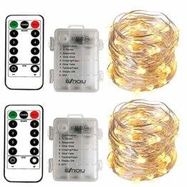 BXROIU 2 x50Leds Silbernedraht Micro Lichterkette Batteriebetrieb 8 Programm (Warm weiß) - 1