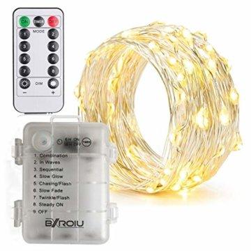 BXROIU 2 x50Leds Silbernedraht Micro Lichterkette Batteriebetrieb 8 Programm (Warm weiß) - 6