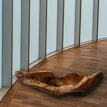 Cepewa Holzschale XL aus Teak Holz in Handarbeit gefertigt | Dekoschale | große Obstschale rund und länglich 50/60 cm (L ca. 60 cm) - 6