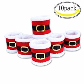CHBOP 10 x Serviettenring Handtuchring Serviettenhalter Tischdekoration Dekorative Tischdeko für Weihnachten Weihnachtsmann - 1
