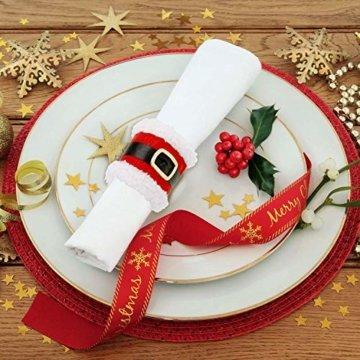 CHBOP 10 x Serviettenring Handtuchring Serviettenhalter Tischdekoration Dekorative Tischdeko für Weihnachten Weihnachtsmann - 5