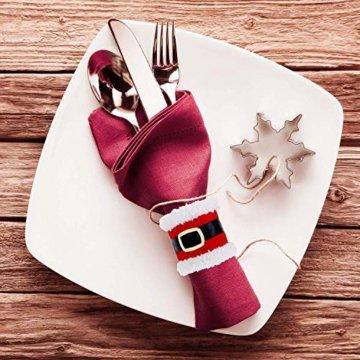 CHBOP 10 x Serviettenring Handtuchring Serviettenhalter Tischdekoration Dekorative Tischdeko für Weihnachten Weihnachtsmann - 6