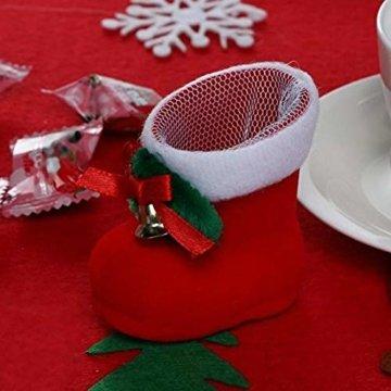 CHBOP 12 x Nikolausstiefel zum Befüllen und Aufhängen Weihnachts Stiefelchen Weihnachten Dekoration Geschenktüten mit Klingel - 3
