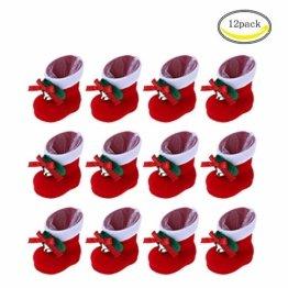 CHBOP 12 x Nikolausstiefel zum Befüllen und Aufhängen Weihnachts Stiefelchen Weihnachten Dekoration Geschenktüten mit Klingel - 1