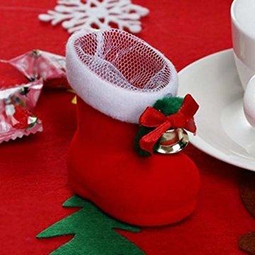 CHBOP 12 x Nikolausstiefel zum Befüllen und Aufhängen Weihnachts Stiefelchen Weihnachten Dekoration Geschenktüten mit Klingel - 5