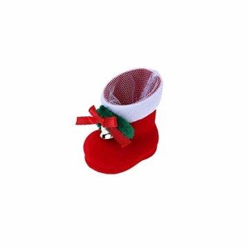 CHBOP 12 x Nikolausstiefel zum Befüllen und Aufhängen Weihnachts Stiefelchen Weihnachten Dekoration Geschenktüten mit Klingel - 6