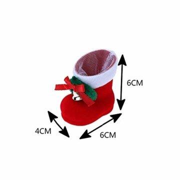 CHBOP 12 x Nikolausstiefel zum Befüllen und Aufhängen Weihnachts Stiefelchen Weihnachten Dekoration Geschenktüten mit Klingel - 7