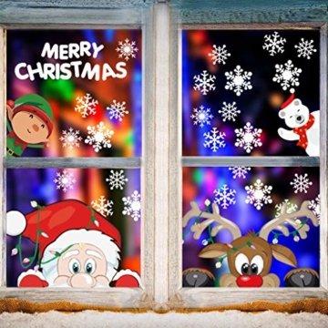 CheChury Fensterbilder für Weihnachten Fensterbilder Winter Statisch Haftende PVC Aufklebe Weihnachtsmann Süße Elche Wiederverwendbar Schneeflocken Fenster Schneeflocken Aufkleber DIY Weihnachtsdeko - 2