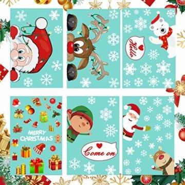 CheChury Fensterbilder für Weihnachten Fensterbilder Winter Statisch Haftende PVC Aufklebe Weihnachtsmann Süße Elche Wiederverwendbar Schneeflocken Fenster Schneeflocken Aufkleber DIY Weihnachtsdeko - 3