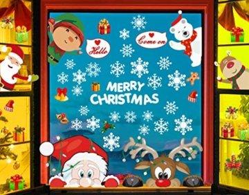 CheChury Fensterbilder für Weihnachten Fensterbilder Winter Statisch Haftende PVC Aufklebe Weihnachtsmann Süße Elche Wiederverwendbar Schneeflocken Fenster Schneeflocken Aufkleber DIY Weihnachtsdeko - 1