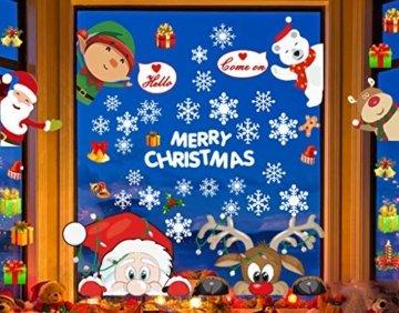 CheChury Fensterbilder für Weihnachten Fensterbilder Winter Statisch Haftende PVC Aufklebe Weihnachtsmann Süße Elche Wiederverwendbar Schneeflocken Fenster Schneeflocken Aufkleber DIY Weihnachtsdeko - 5