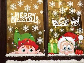 CheChury Weihnachtsdeko Fenster Schneeflocken Weihnachten Fensterbilder Fensteraufkleber PVC Fensterdeko Selbstklebend Aufkleber Elch Schneemann Elfen Weihnachtsmann Abnehmbare Statisch Haftende - 2