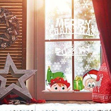 CheChury Weihnachtsdeko Fenster Schneeflocken Weihnachten Fensterbilder Fensteraufkleber PVC Fensterdeko Selbstklebend Aufkleber Elch Schneemann Elfen Weihnachtsmann Abnehmbare Statisch Haftende - 3
