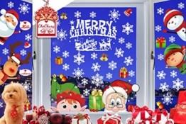 CheChury Weihnachtsdeko Fenster Schneeflocken Weihnachten Fensterbilder Fensteraufkleber PVC Fensterdeko Selbstklebend Aufkleber Elch Schneemann Elfen Weihnachtsmann Abnehmbare Statisch Haftende - 1