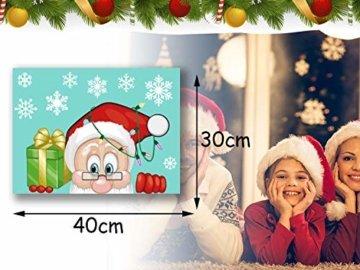 CheChury Weihnachtsdeko Fenster Schneeflocken Weihnachten Fensterbilder Fensteraufkleber PVC Fensterdeko Selbstklebend Aufkleber Elch Schneemann Elfen Weihnachtsmann Abnehmbare Statisch Haftende - 4