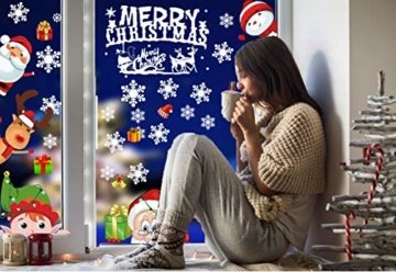CheChury Weihnachtsdeko Fenster Schneeflocken Weihnachten Fensterbilder Fensteraufkleber PVC Fensterdeko Selbstklebend Aufkleber Elch Schneemann Elfen Weihnachtsmann Abnehmbare Statisch Haftende - 5
