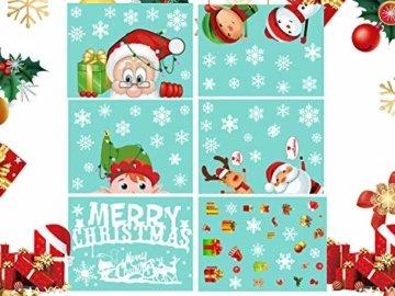 CheChury Weihnachtsdeko Fenster Schneeflocken Weihnachten Fensterbilder Fensteraufkleber PVC Fensterdeko Selbstklebend Aufkleber Elch Schneemann Elfen Weihnachtsmann Abnehmbare Statisch Haftende - 7