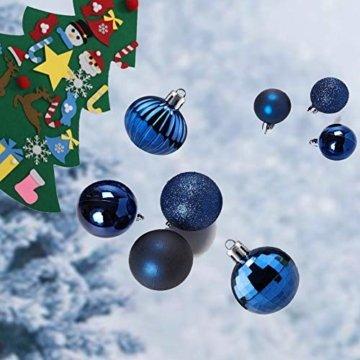 Christbaumkugeln 34Stücke Weihnachtkugel-Set Weihnachtsdeko Baumkugeln Baumschmuck für Weihnachten Matt Glitzernd Dekokugeln zum Aufhängen Tür Dekorationen Christbaumschmuck Party Festival(Marine,6cm) - 5
