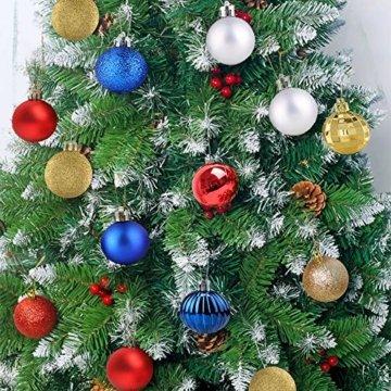 Christbaumkugeln 34Stücke Weihnachtkugel-Set Weihnachtsdeko Baumkugeln Baumschmuck für Weihnachten Matt Glitzernd Dekokugeln zum Aufhängen Tür Dekorationen Christbaumschmuck Party Festival(Marine,6cm) - 6