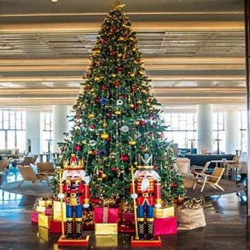 Christbaumkugeln 34Stücke Weihnachtkugel-Set Weihnachtsdeko Baumkugeln Baumschmuck für Weihnachten Matt Glitzernd Dekokugeln zum Aufhängen Tür Dekorationen Christbaumschmuck Party Festival(Marine,4cm) - 4