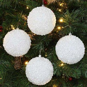 Christmas Concepts® Packung mit 5 - extra große 100mm Weihnachtsbaumkugeln - weißer schillernder Schein Verziertes Baubles - 3