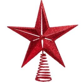 Christmas Traditions Weihnachtsbaumspitze, Stern, glitzernd, 28 cm rot - 1