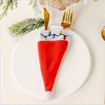 clacce 10 Stück Weihnachten Tischdeko Weihnachtsmann Hut Bestecktasche Besteckbeutel Besteckhalter für Weihnachten Deko - 3