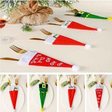 clacce 10 Stück Weihnachten Tischdeko Weihnachtsmann Hut Bestecktasche Besteckbeutel Besteckhalter für Weihnachten Deko - 4