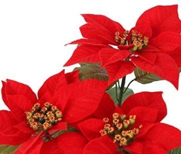 Closer 2 Nature FT035RD künstliche Blumen Künstliche Poinsettie, 44 cm, rot - 2