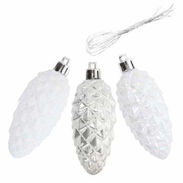 com-four® 6X Christbaumanhänger-Set Tannenbaum-Zapfen in silberfarben, weiß bruchfest, Christbaumschmuck für die Weihnachtsbaum-Dekoration - 3