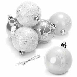com-four® 6X Weihnachtskugeln - Christbaumkugeln aus bruchsicherem Kunststoff für Weihnachten - Baumschmuck für den Christbaum, Ø 8 cm (weiß/silberfarben) - 1