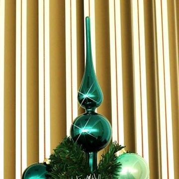 com-four® Christbaumspitze in blaugrün glänzend, Weihnachtsbaumspitze aus echtem Glas für Weihnachten, Tannenbaumspitze für Ihren Christbaum, 28 cm - 3