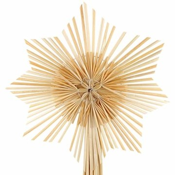 com-four® Stern Christbaumspitze aus Stroh, Weihnachtsbaumspitze Stern aus Stroh für Weihnachten, Tannenbaumspitze für Ihren Christbaum, 24,5 cm - 3