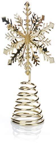 com-four® Weihnachtsbaumspitze Schneeflocke - Christbaumspitze für den Weihnachtsbaum - Schneeflocke zum Hinstellen für Weihnachten (goldfarben) - 1