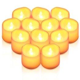 Criacr LED Kerzen, 12 LED Teelichter Flackernd, Flammenlose Kerzen, Elektrische teelichter mit CR2032 Batterien, 3.6 x 3.2 cm, Dekoration LED Kerzen für Halloween, Hochzeit, Parties(Warmweiß) - 1