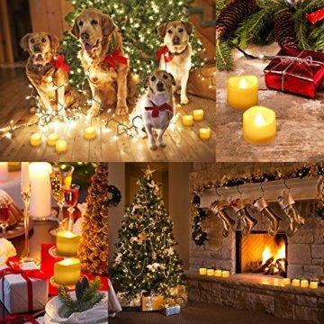 Criacr LED Kerzen, 12 LED Teelichter Flackernd, Flammenlose Kerzen, Elektrische teelichter mit CR2032 Batterien, 3.6 x 3.2 cm, Dekoration LED Kerzen für Halloween, Hochzeit, Parties(Warmweiß) - 4