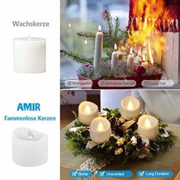Criacr LED Kerzen, 12 LED Teelichter Flackernd, Flammenlose Kerzen, Elektrische teelichter mit CR2032 Batterien, 3.6 x 3.2 cm, Dekoration LED Kerzen für Halloween, Hochzeit, Parties(Warmweiß) - 5