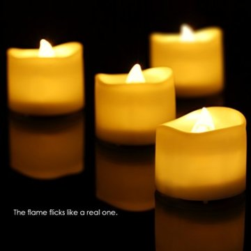 Criacr LED Kerzen, 12 LED Teelichter Flackernd, Flammenlose Kerzen, Elektrische teelichter mit CR2032 Batterien, 3.6 x 3.2 cm, Dekoration LED Kerzen für Halloween, Hochzeit, Parties(Warmweiß) - 6