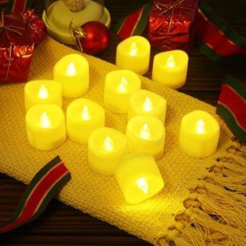 Criacr LED Kerzen, 12 LED Teelichter Flackernd, Flammenlose Kerzen, Elektrische teelichter mit CR2032 Batterien, 3.6 x 3.2 cm, Dekoration LED Kerzen für Halloween, Hochzeit, Parties(Warmweiß) - 7