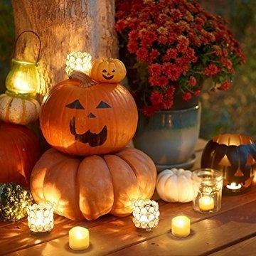 Criacr LED Kerzen, 12 LED Teelichter Flackernd, Flammenlose Kerzen, Elektrische teelichter mit CR2032 Batterien, 3.6 x 3.2 cm, Dekoration LED Kerzen für Halloween, Hochzeit, Parties(Warmweiß) - 8
