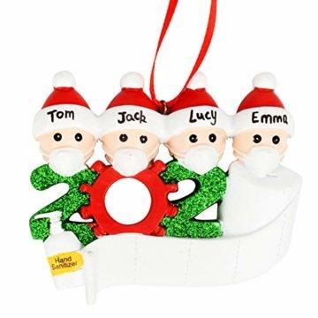 Cymax Weihnachtsschmuck,2020 Personalisierte Familie Von 4 Weihnachten 2020 Christbaum Deko Feiertags Dekorationen Segen Harz Schneemann Anhänger Weihnachtsbaum Hängen - 4