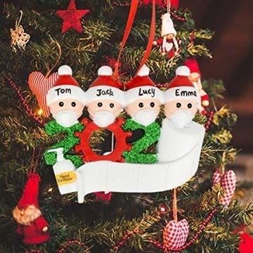 Cymax Weihnachtsschmuck,2020 Personalisierte Familie Von 4 Weihnachten 2020 Christbaum Deko Feiertags Dekorationen Segen Harz Schneemann Anhänger Weihnachtsbaum Hängen - 5