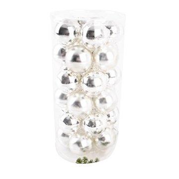 Dadeldo Living & Lifestyle Weihnachtskugel Premium 30er Set Glas 6cm Xmas Baumschmuck (Silber) - 3