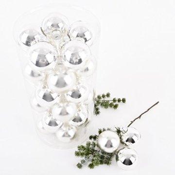 Dadeldo Living & Lifestyle Weihnachtskugel Premium 30er Set Glas 6cm Xmas Baumschmuck (Silber) - 4