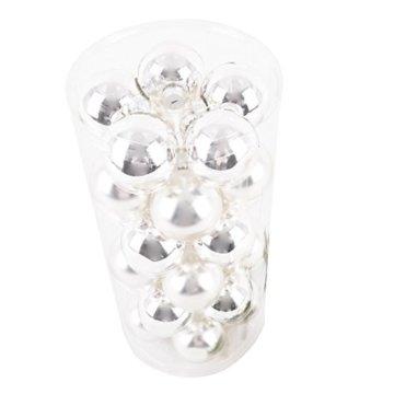 Dadeldo Living & Lifestyle Weihnachtskugel Premium 30er Set Glas 6cm Xmas Baumschmuck (Silber) - 5