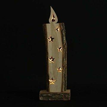 """Deko Objekt """"Leuchtkerze"""" aus Holz, 52 cm hoch, mit LED Lichterkette, Batterie-betrieben, Skulptur … - 6"""